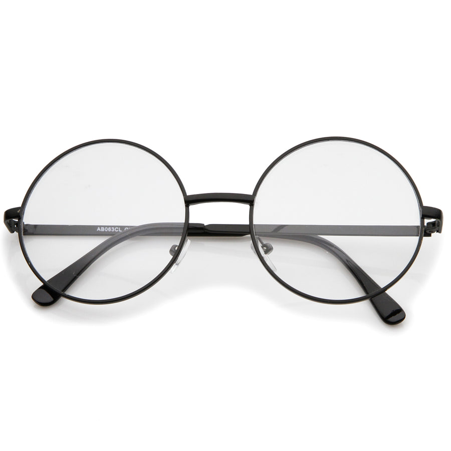 0d35adb938 Retro Lennon Style Mid Size Metal Frame Clear Lens Round Glasses 51mm