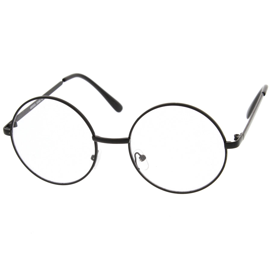 Retro Lennon Style Mid Size Metal Frame Clear Lens Round Glasses 51mm