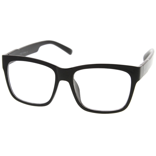 Casual Bold Square Clear Lens Horn Rimmed Eyeglasses 53mm - sunglass.la
