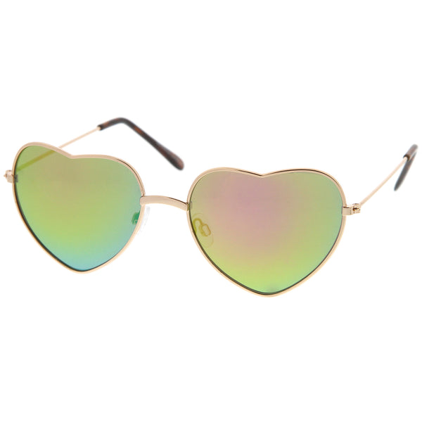 Small Thin Metal Frame Temples Colored Mirror Lens Heart Sunglasses 52mm - sunglass.la - 1