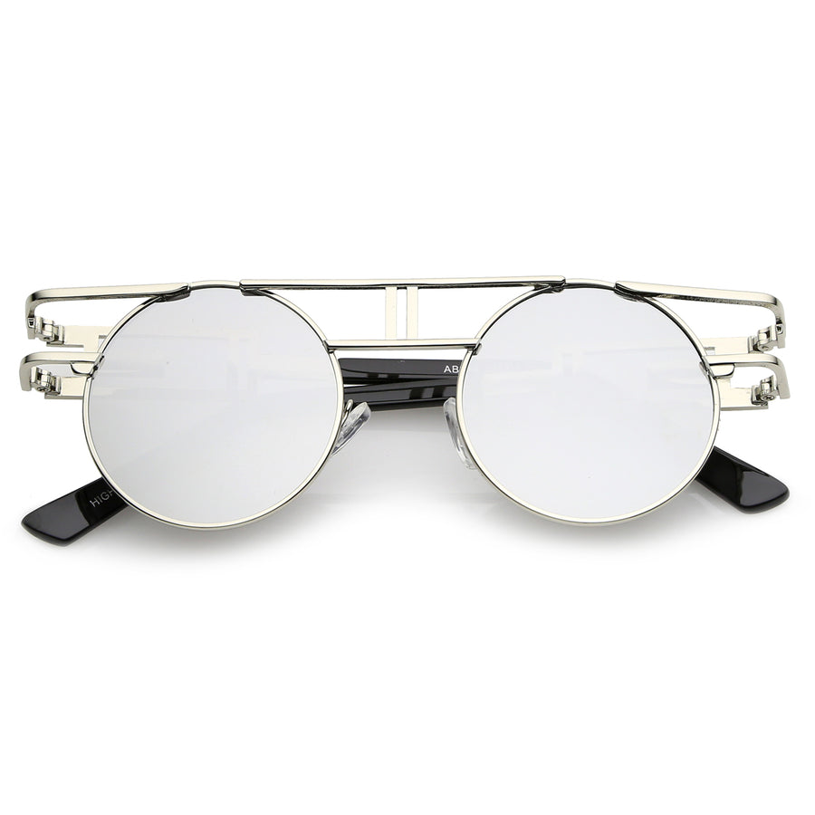 03f956d96c32 Steampunk Open Metal Frame Brow bar Flat Lens Round Glasses 47mm