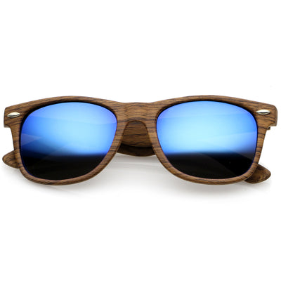 Natural Wood / Blue Mirror