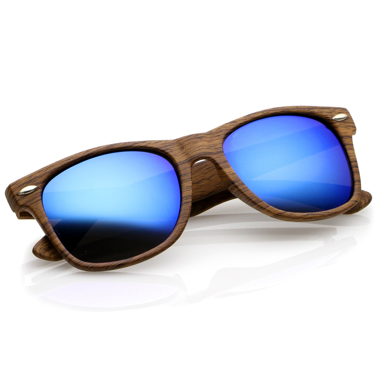 92a65db81f Classic Wood Printed Colored Mirror Square Lens Horn Rimmed ...