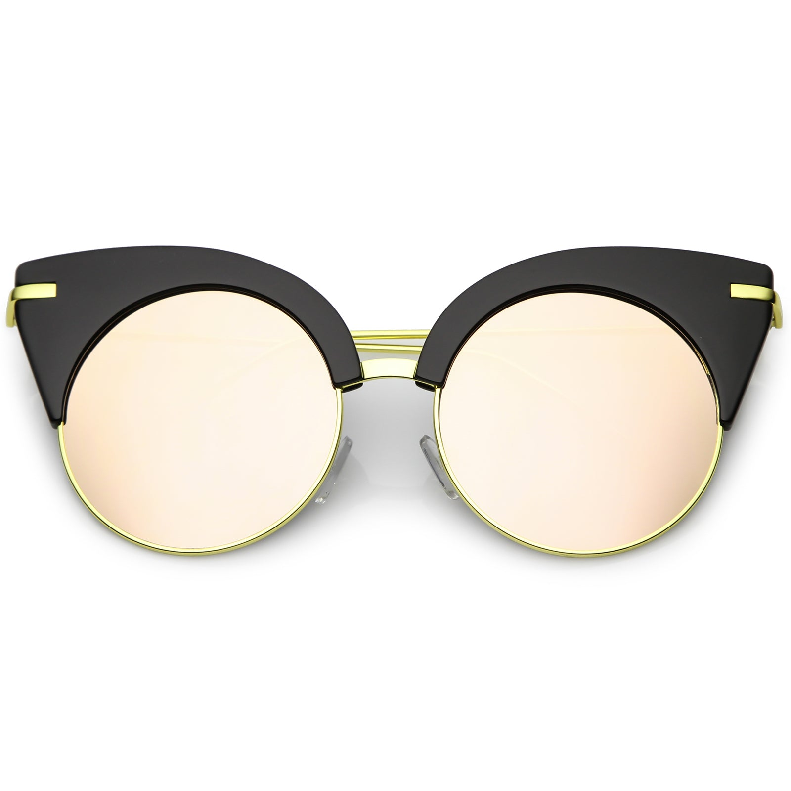 fd89ca0950 Oversize Half Frame Cat Eye Sunglasses Ultra Slim Arms Round ...
