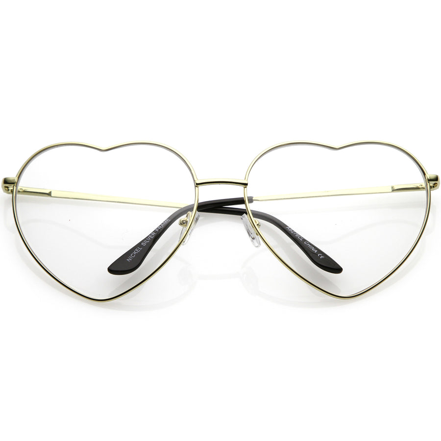 4c3f1360e9f Oversize Metal Heart Shaped Eye Glasses With Clear Lens 71mm