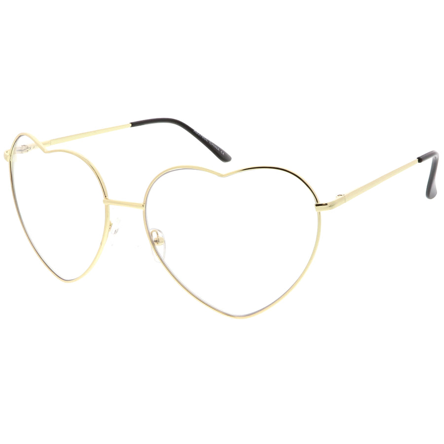 13faedfe42 Oversize Metal Heart Shaped Eye Glasses With Clear Lens 71mm