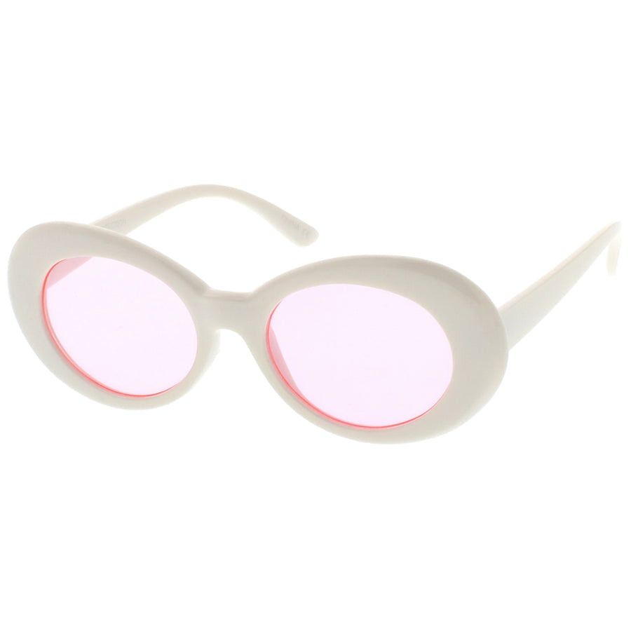 Retro White Oval Sunglasses With Tapered Arms Colored Round Lens  51mm