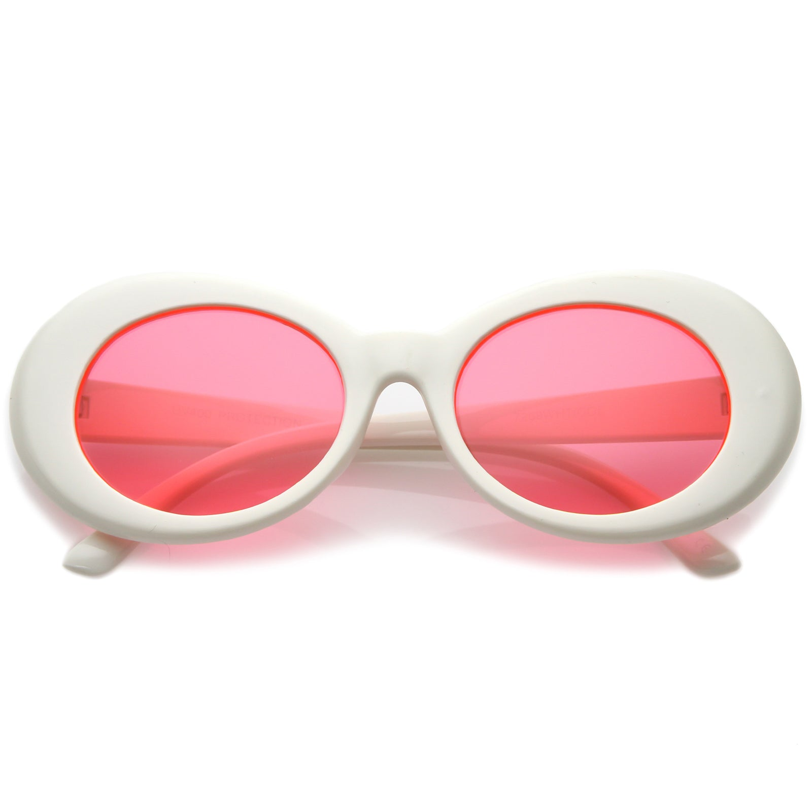 51715f9746b2 Retro White Oval Sunglasses With Tapered Arms Colored Round Lens ...