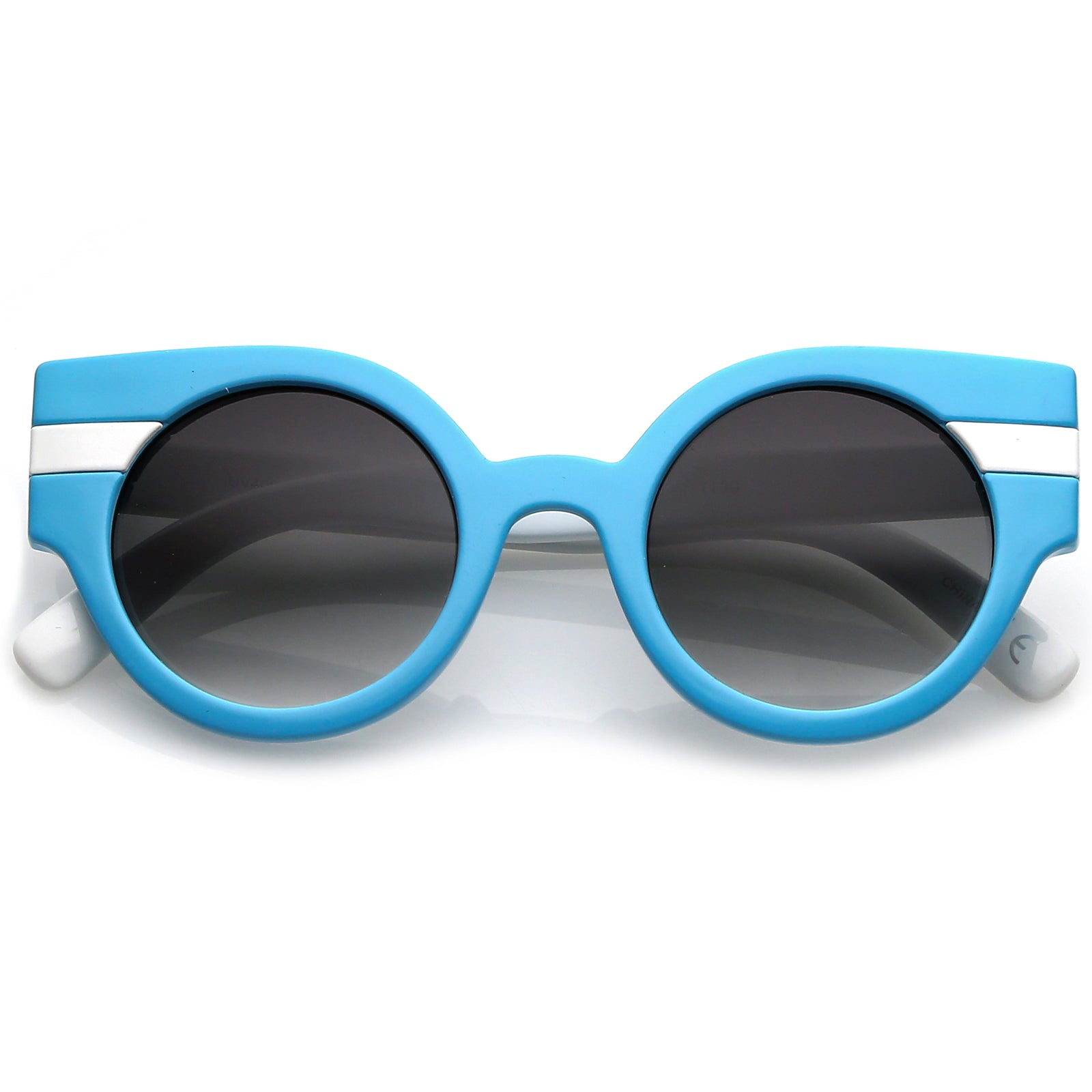 4e55235fb6e Striped Chunky Cat Eye Sunglasses With Round Gradient Lens 46mm ...