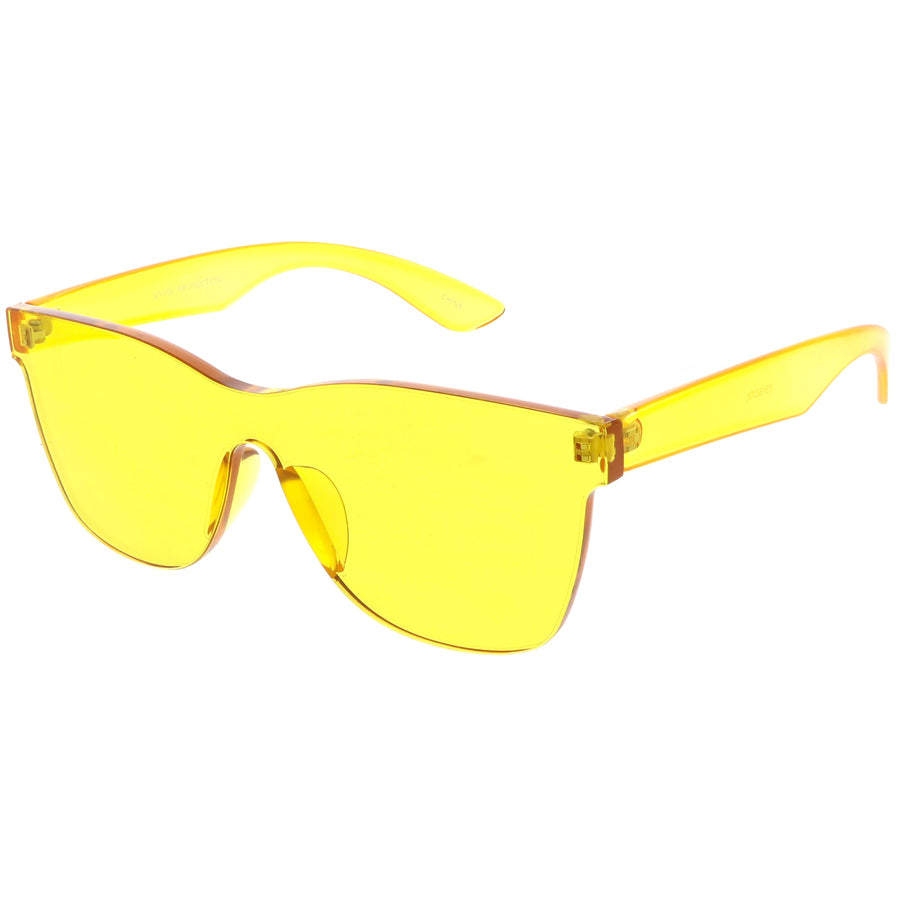 7cb588eaecf Rimless Horn Rimmed Mono Block Sunglasses With Colorful One Piece PC Lens  68mm
