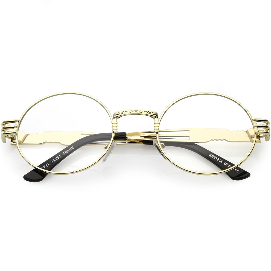 5b6787f42d035 Steampunk Inspired Oval Eye Glasses Unique Engraved Metal Detail Clear Lens  60mm
