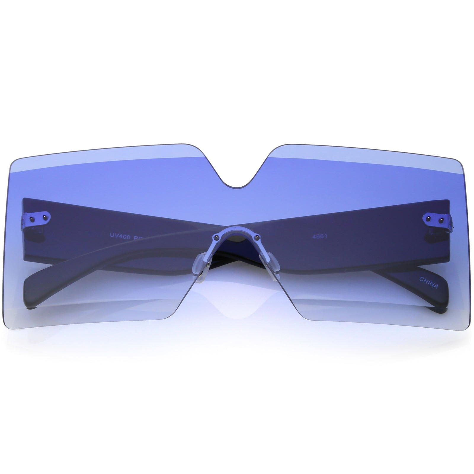 ce5692fef Oversize Rimless Shield Sunglasses Thick Arms Beveled Gradient Lens ...