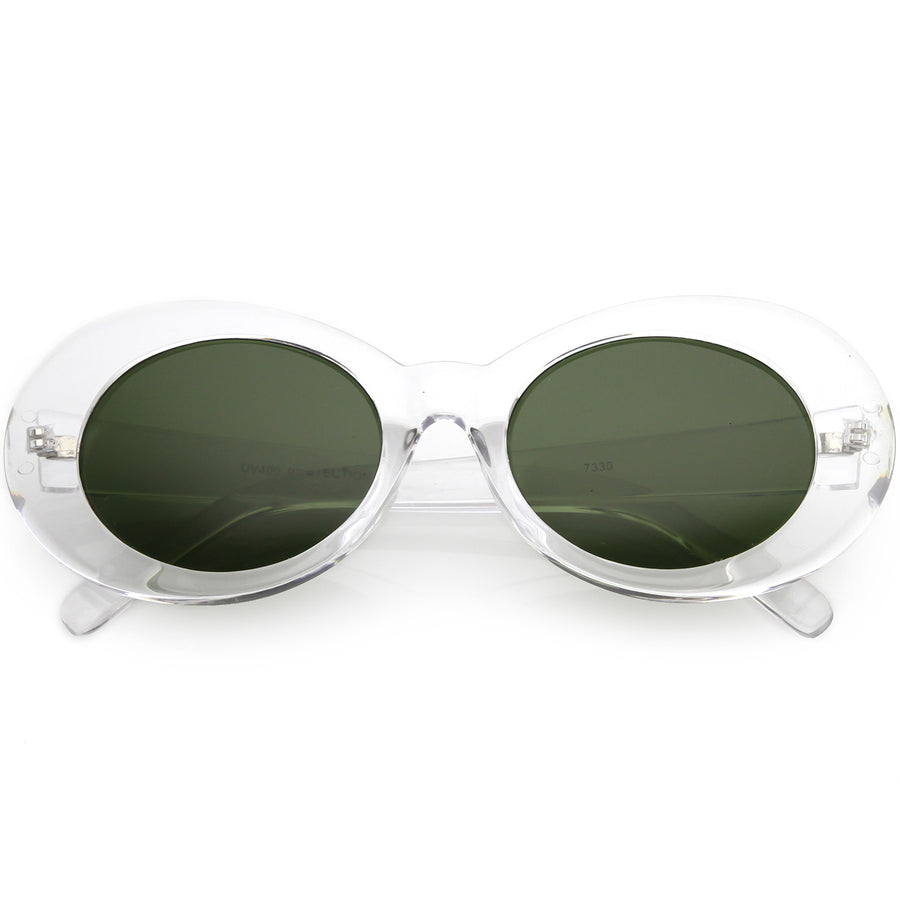 27b33b1d31 Large Retro Mod Oval Sunglasses Thick Frame Wide Arms Neutral Colored Lens  53mm