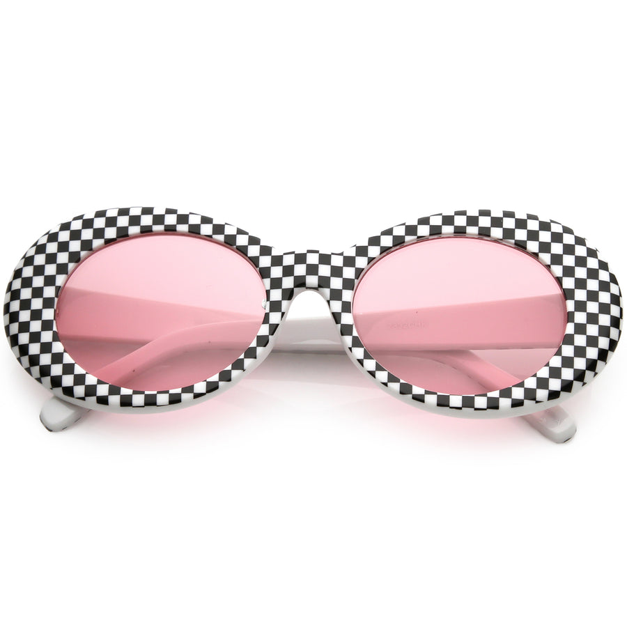 3b6d313258 Checkered   Yellow. Checkered   Yellow · Large Retro Checkered Oval  Sunglasses Thick Frame ...