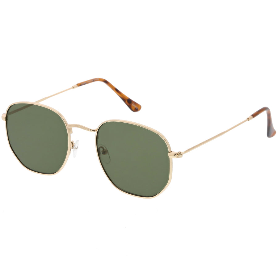 Large Metal Hexagonal Sunglasses Slim Arms Neutral Colored Flat Lens 54mm