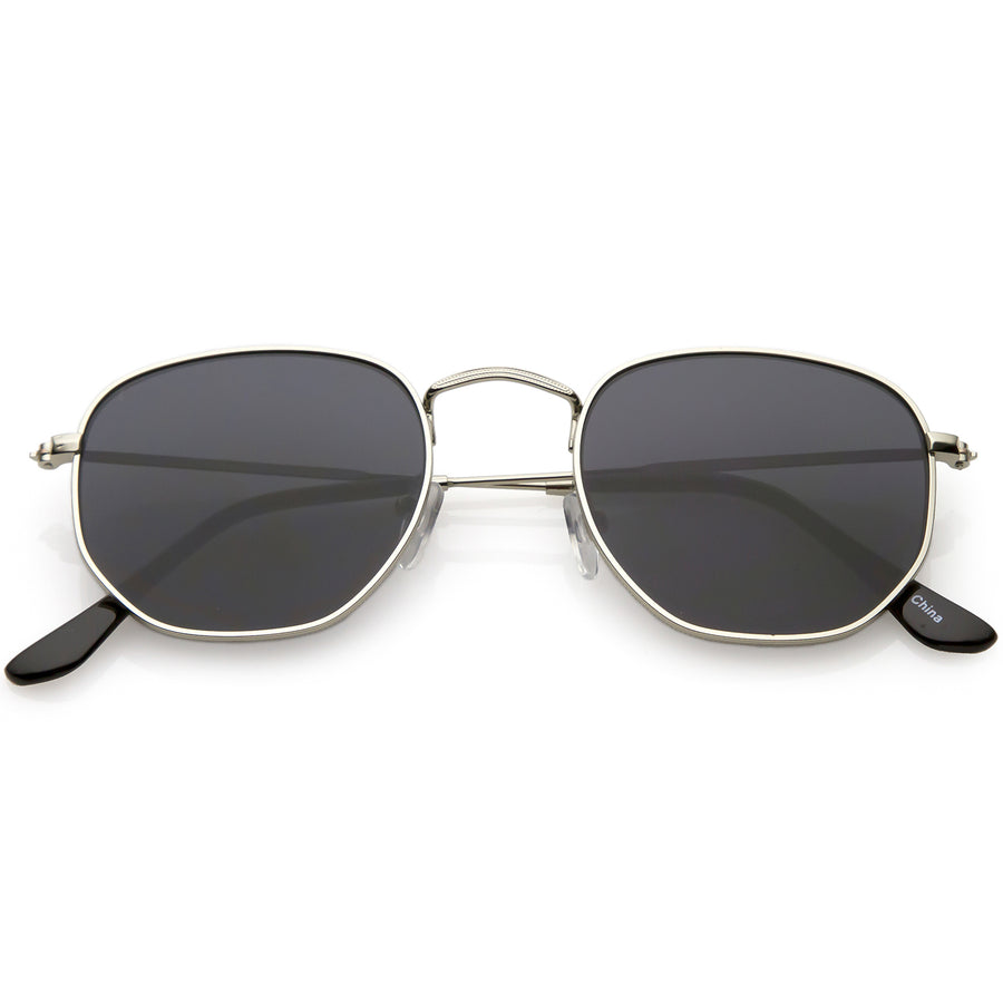 ab0752a282 Large Metal Hexagonal Sunglasses Slim Arms Neutral Colored Flat Lens 54mm