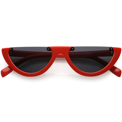3113c2ced4dd Extreme Semi Rimless Cat Eye Sunglasses Neutral Colored Lens 55mm. Red /  Smoke