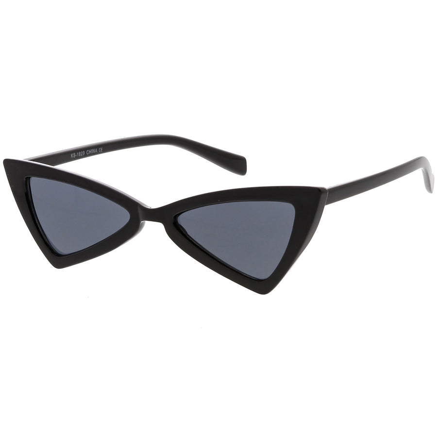 Women's Thin Extreme Cat Eye Sunglasses Neutral Colored Flat Lens 51mm