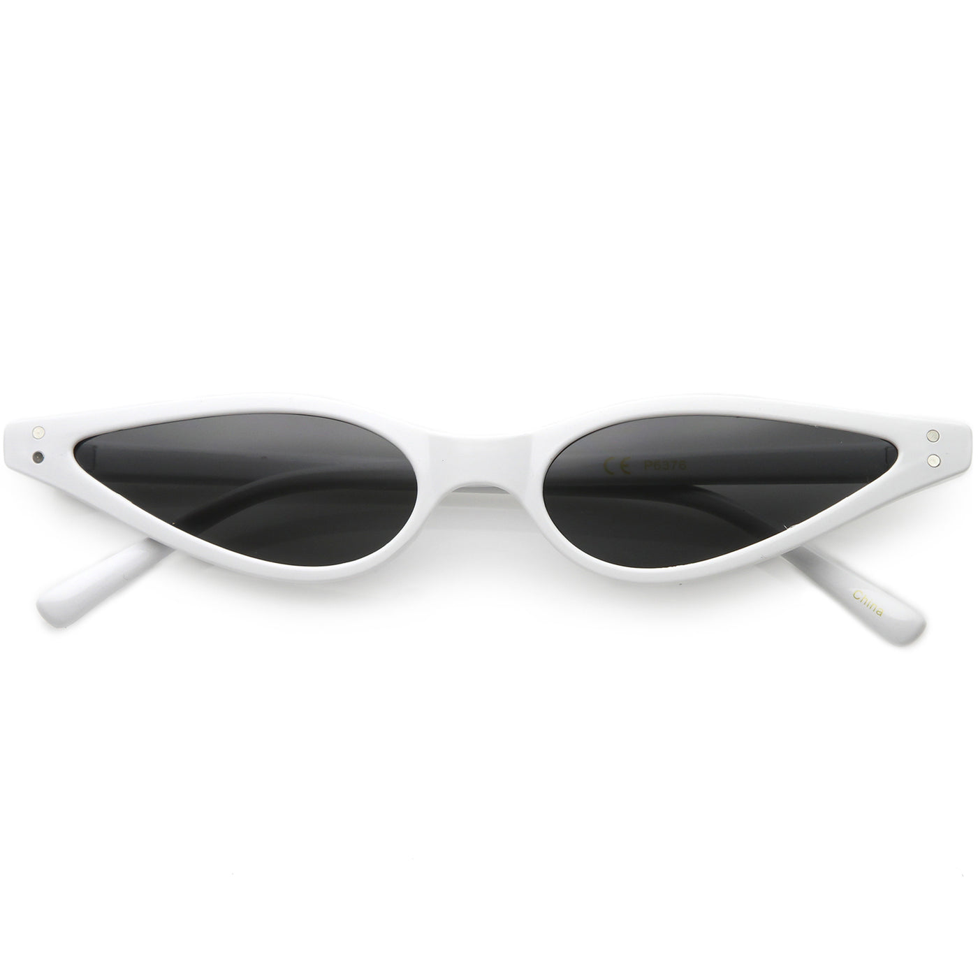 2dece104395 Extreme Thin Cat Eye Sunglasses Neutral Colored Flat Lens 53mm