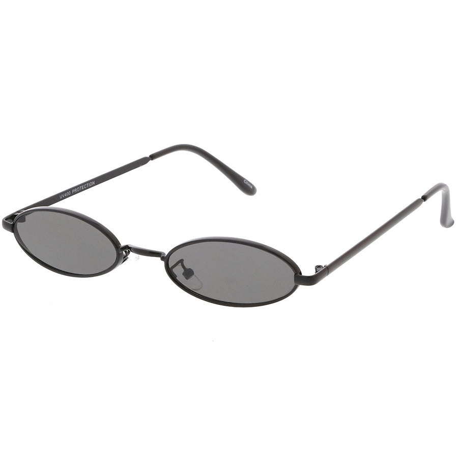 Extreme Small Oval Sunglasses Neutral Colored Flat Lens 51mm