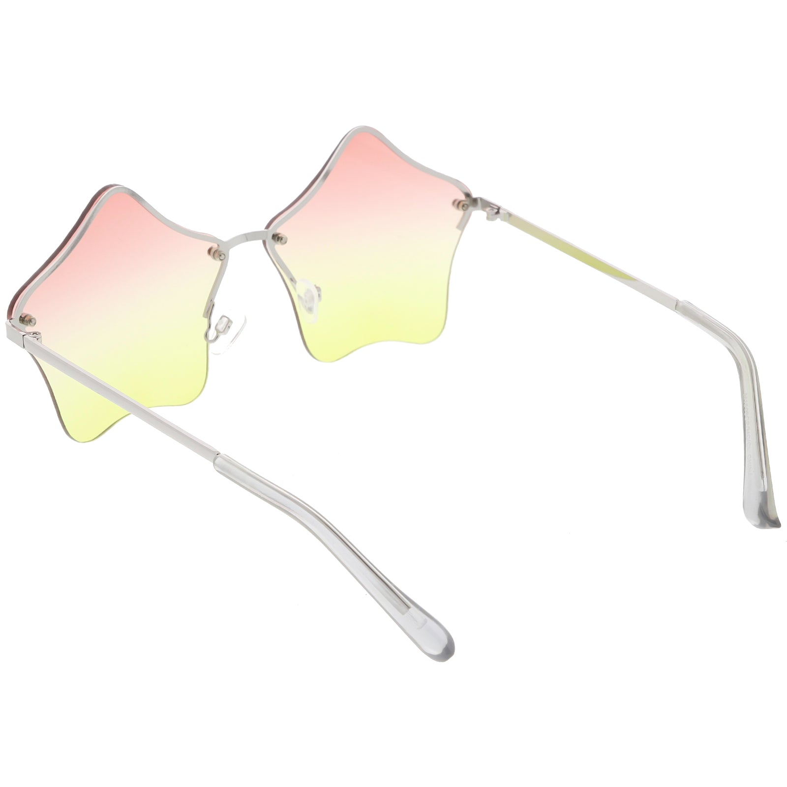 f0eda3421b085 Star Shaped Rimless Sunglasses Metal Frame Color Tinted Lens 55mm ...