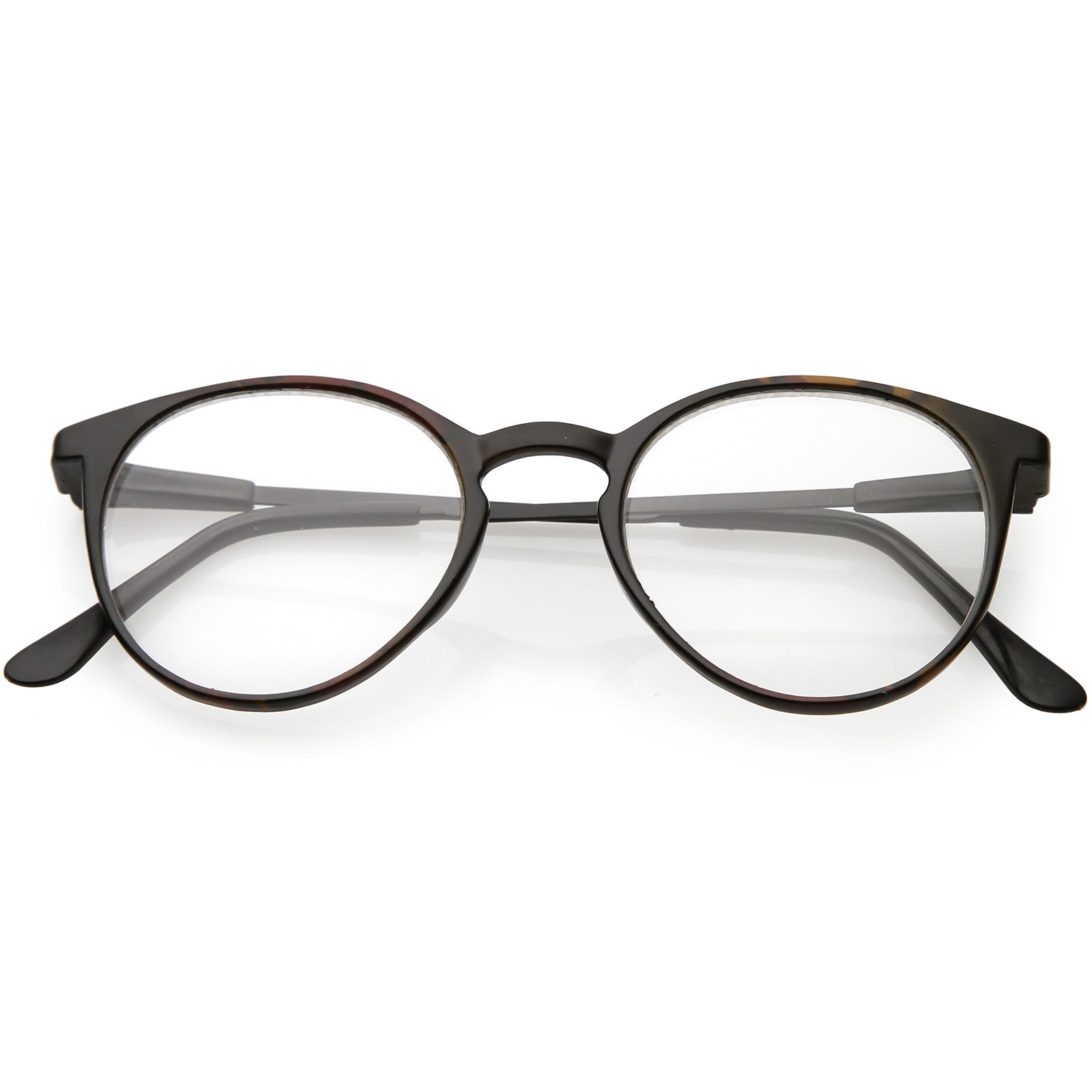 745c3e9025ad True Vintage Horn Rimmed Round Eyeglasses Metal Arms Clear Lens 46mm ...