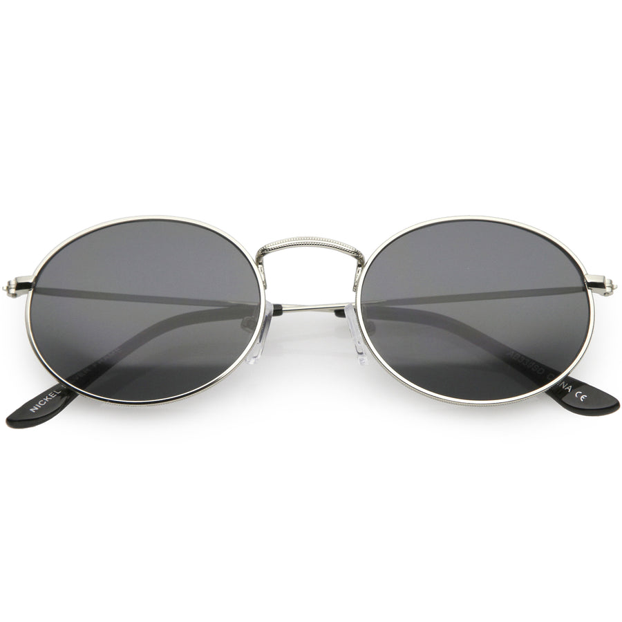 cbd10e7120 Small Metal Oval Sunglasses Slim Arms Neutral Colored Lens 51mm