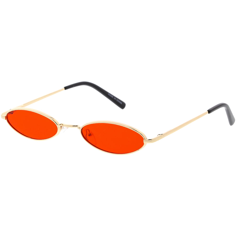 Retro Small Oval Sunglasses Slim Arms Color Tinted Flat Lens 51mm