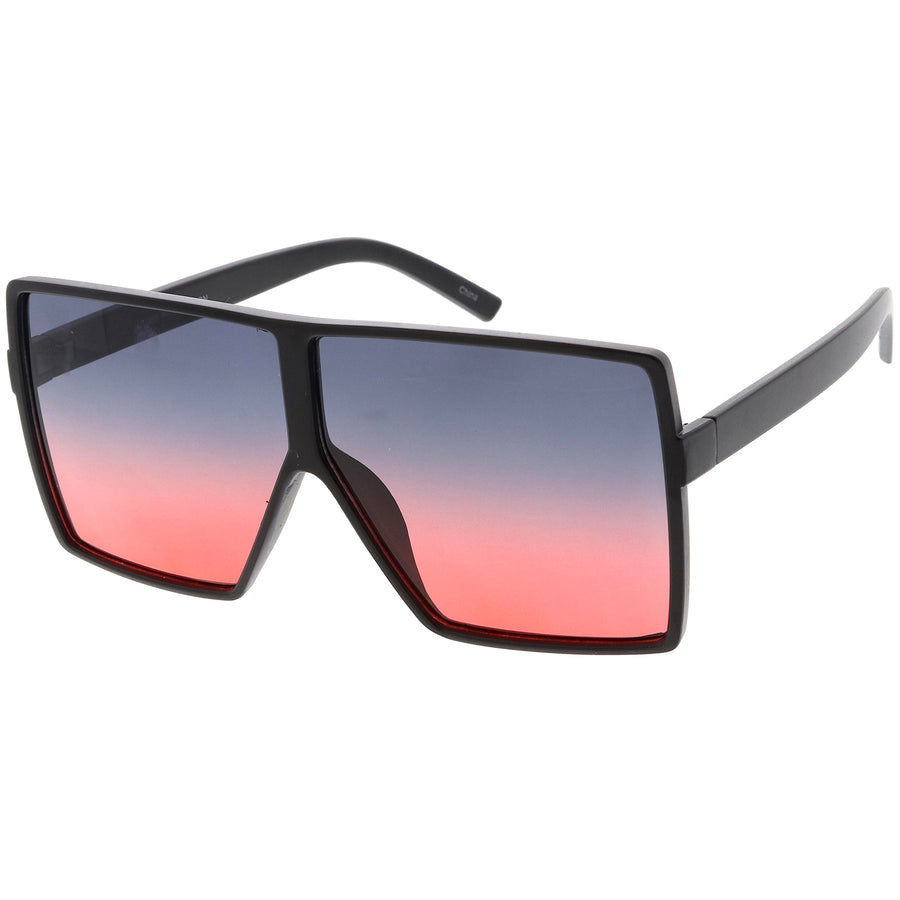 Big Large Oversize Square Sunglasses Flat Top Two Tone Lens 70mm