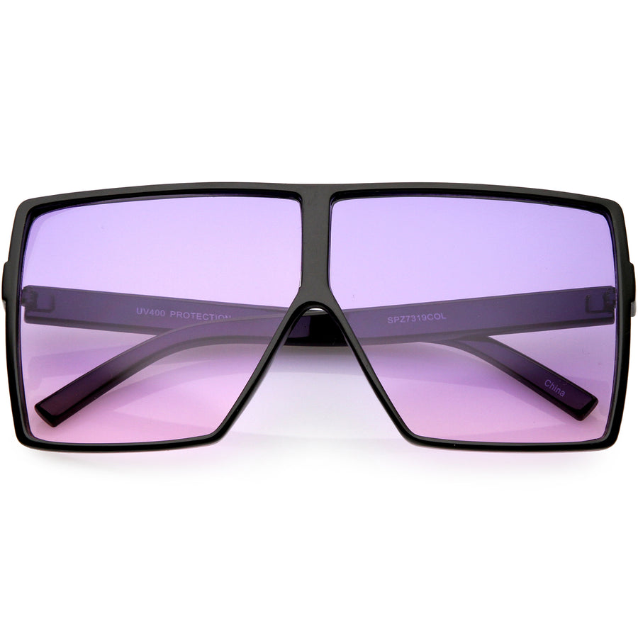 4482c85c0737 Big Large Oversize Square Sunglasses Flat Top Two Tone Lens 70mm