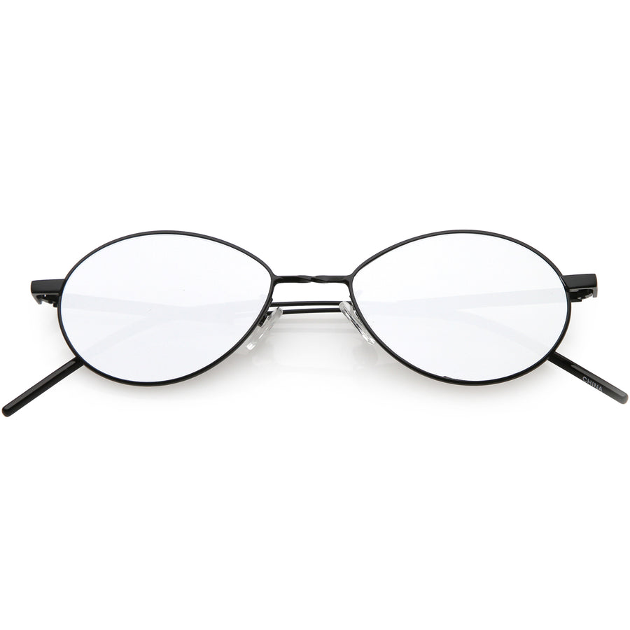 61fd6a5d01 Oval Sunglasses Slim Metal Arms Neutral Colored Mirror Flat Lens 51mm