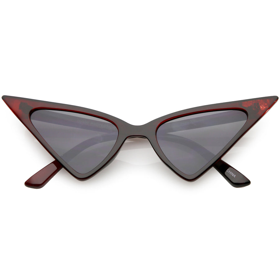 fa1cec45cd01 Oversize Cat Eye Sunglasses Slim Arms Neutral Colored Flat Lens 51mm