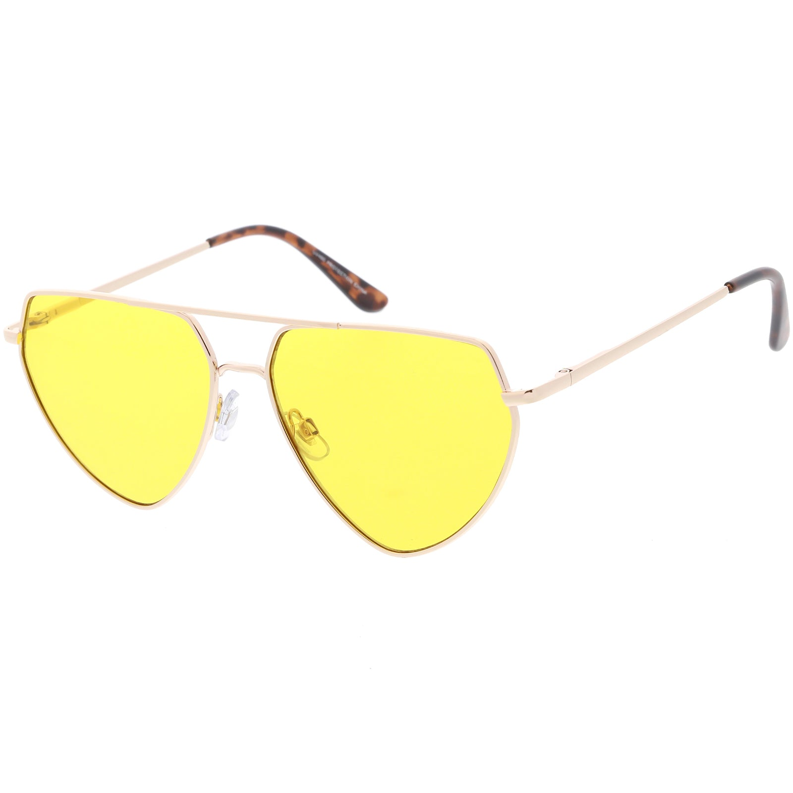 a8704634644a5 Oversize Metal Aviator Sunglasses Crossbar Slim Arms Color Tinted ...