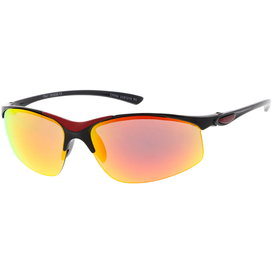 7b4333933bcc Lightweight Semi Rimless Sports Wrap Sunglasses Neutral Colored Mirrored  Lens 62mm