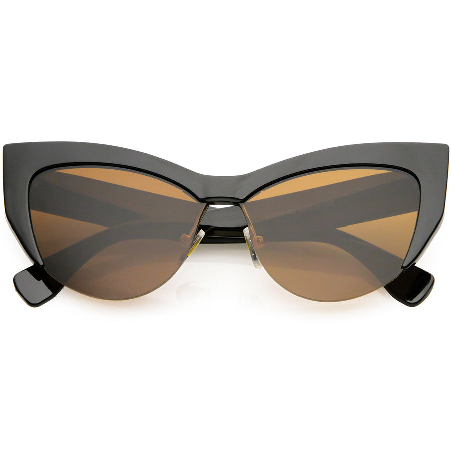 cbe0259a809 Black   Brown. Black   Brown · Women s Oversize Semi Rimless Cat Eye  Sunglasses Neutral Colored Lens 56mm