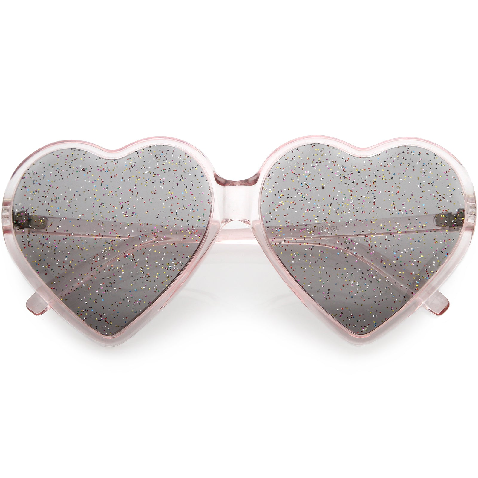 2dbbbdace65 Women s Novelty Oversize Heart Sunglasses Smoke Glitter Lens 62mm ...