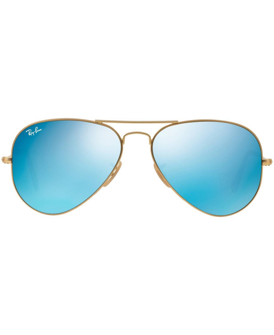 Ray-Ban - ORIGINAL AVIATOR MIRRORED Sunglasses, RB3025 58 (GOLD MATTE/BLUE MIRROR)