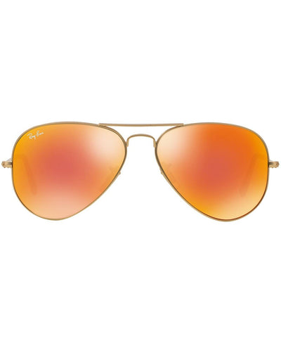 Ray-Ban - ORIGINAL AVIATOR MIRRORED Sunglasses, RB3025 58 (Gold Matte/Orange Mirror)