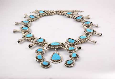 Vintage Handmade Turquoise Navajo Squash Blossom Necklace