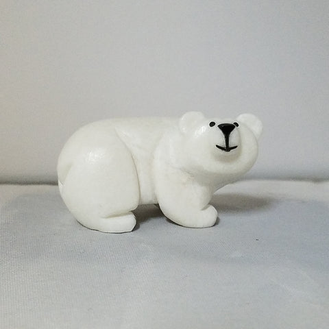 Copy of White Marble Zuni Bear Fetish by Corwin Yamutewa