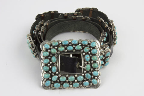 Navajo Sterling and Turquoise Concho Belt Set by Pansy Johnson - Turquoise Village - 1