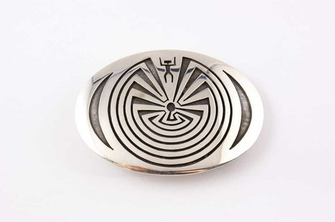 Hopi Overlay Man In the Maze Buckle by Floyd Lomakuyvaya - Turquoise Village - 1
