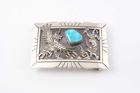 Hopi Overlay Kachina Buckle by Ronald Wadsworth - Turquoise Village - 1