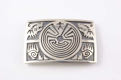Hopi Overlay Man in the Maze Buckle by Perry Fred - Turquoise Village - 1