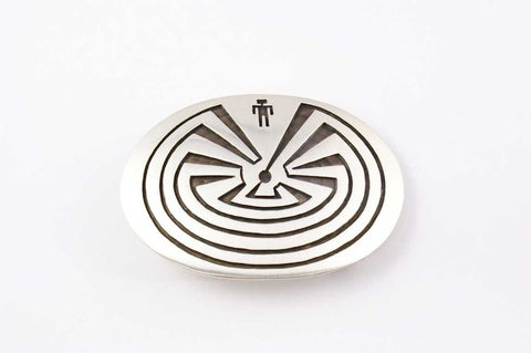 Hopi Overlay Man in the Maze Buckle by Ben Mansfield - Turquoise Village - 1