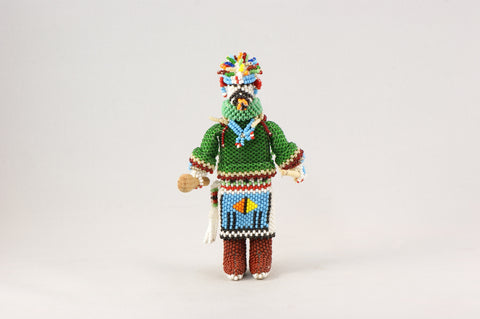 Green Velvet Shirt Beaded Kachina - Turquoise Village