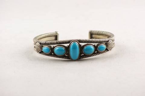 Navajo Indian Southwestern Sterling Silver & Turquoise Bracelet - Turquoise Village - 1