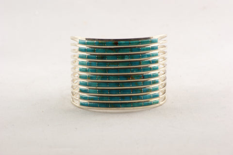 Zuni Channel Inlay Turquoise Cuff Bracelet by Ansom & Letitia Wallace - Turquoise Village - 1