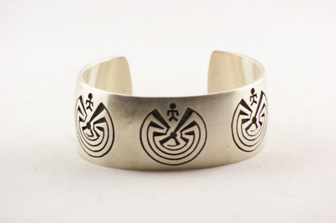 Hopi Overlay Man in the Maze Cuff Bracelet by Ben Mansfield - Turquoise Village - 1