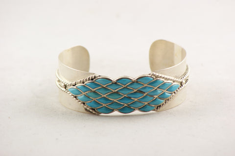 Zuni Indian Jewelry Turquoise & Silver Basket Weave Bracelet - Turquoise Village - 1